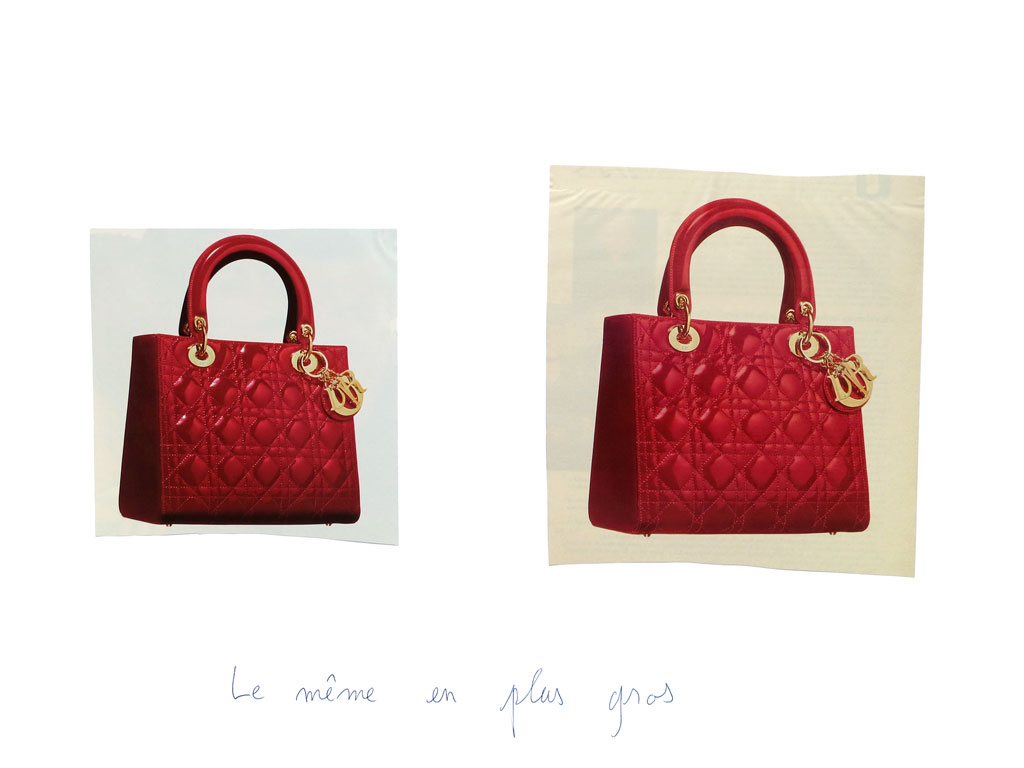 Claude Closky, 'Le même en plus gros [the same, bigger (red handbag)]', 1996-1998, blue ballpoint pen and collage on paper, 50 x 70 cm.